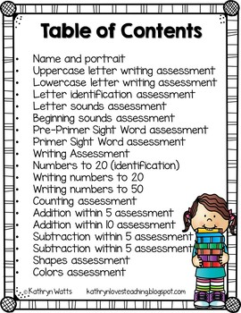 Kindergarten Back to School Assessments Grade Level License