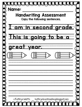 Second Grade Back to School Assessments Grade Level License