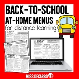 Back to School At-Home Learning Menus for Distance Learning