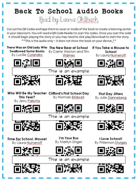 Back to School Audio Book QR Codes
