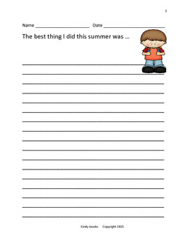Back to School Survival Packet; Creative Writing; Task Cards;