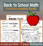 Back to School August/September Math for Kindergarten - NO
