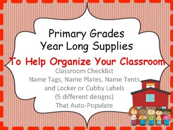 Back to School Auto-Populating forms, name plates and name tags ~themed goodies