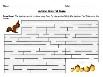 Back to School ~ Autumn Fall Squirrel Maze Activity for Grades 1-3