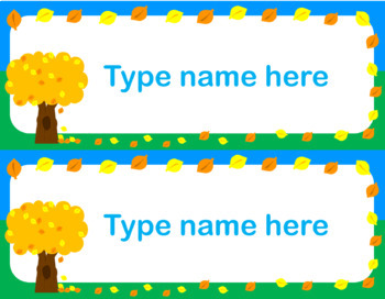 Editable Autumn Tree Name Tags for Desks, Lockers, Supplies