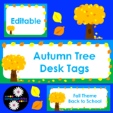 Editable Autumn Tree Name Tags for Desks, Lockers, Supplies