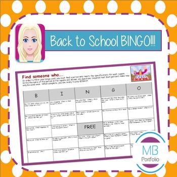 Back to School BINGO - 1st Day Ice Breaker