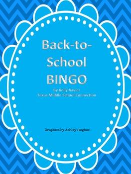 Back-to-School BINGO Blue Chevron