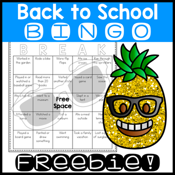 Back to School BINGO Freebie! | FREE No Prep Ice Breaker