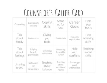 Back to School BINGO for Elementary Counselors