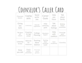 Back to School BINGO for Middle School Counselors