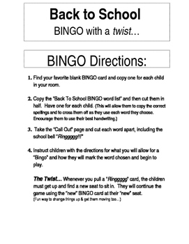 Back to School BINGO with a Twist