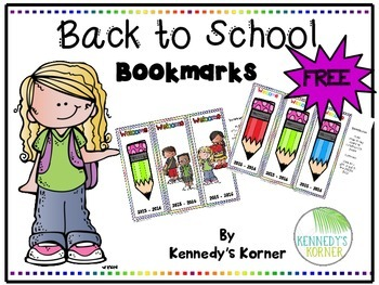 Back to School BOOKMARKS ~ FREE ~