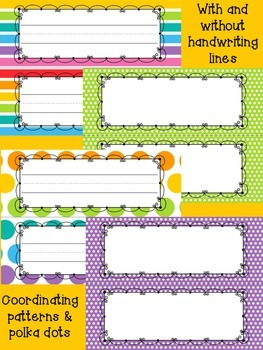 Back to School BRIGHTS Decor Pack - Nameplates, Tags, and Papers (EDITABLE)