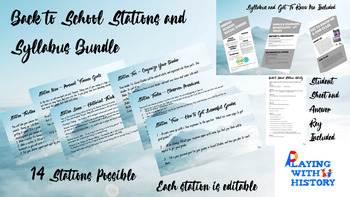Back to School BUNDLE - Stations & Syllabus/About Me Combo!