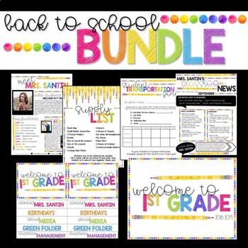 Back to School BUNDLE - Watercolor Rainbow Dot EDITABLE