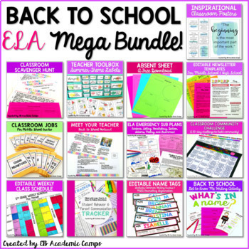 Back to School BUNDLE for Middle School Classroom Set-Up & ELA