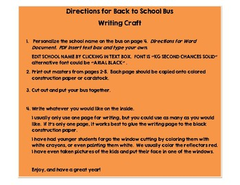 Back to School BUS Writing Craft