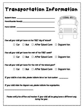 """""""Back"""" Pack: Back to School Forms and Printables"""
