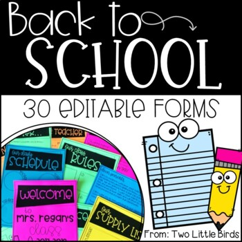 Back to School-Back to School Forms Editable