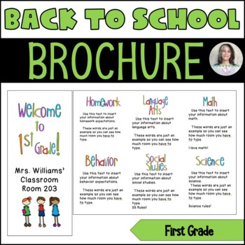 Back to School/Back to School Night Parent Brochure - 1st Grade