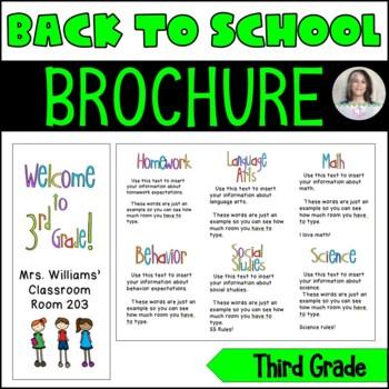 Back to School/Back to School Night Parent Brochure - 3rd Grade