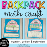 Back to School Backpack Math Craft for Counting, Addition,