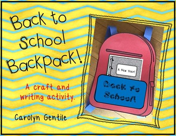 Back to School Backpack writing and craft activity