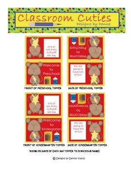 Back to School Bag Toppers for Preschool and Kindergarten