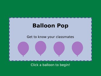 Back to School Balloon Pop Powerpoint Game