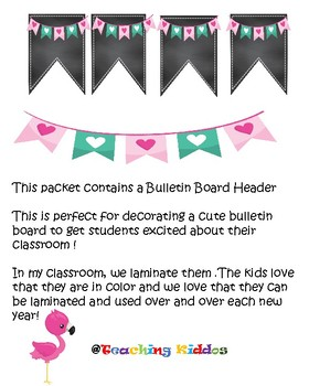 Back to School Banner Pennant  flamingo pink teal chalkboard