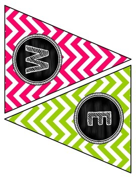 "Back to School Banner- ""Welcome to First Grade!""- Bright Chevron and Chalkboard"