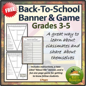 Back to School - Banner and Game -  FREE