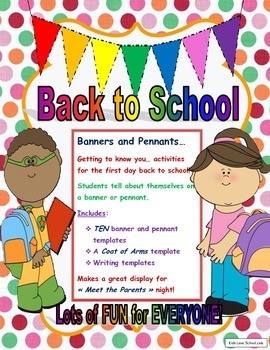 Back to School-Banners and Pennants Getting to Know You Activities in ENGLISH !