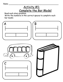 Back to School Bar Models - Grade 3 & 4 Word Problems - Addition & Subtraction