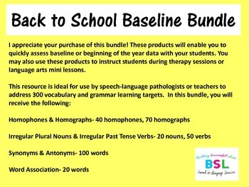 Back to School Baseline Bundle{Vocabulary & Grammar}
