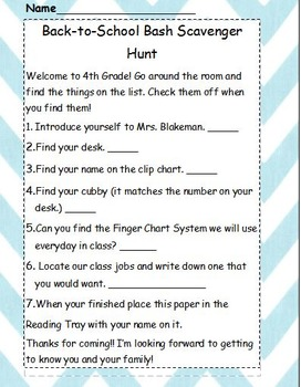 Back to School Bash Scavenger Hunt