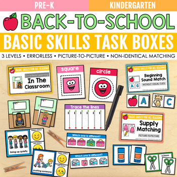 Back to School Basic Skills Task Boxes (pre-k & special education)