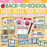 Back to School Basic Skills Task Boxes (pre-k & special ed