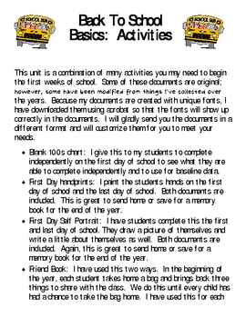 Back to School Basics-ACTIVITIES