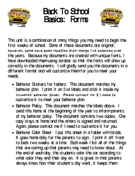 Back to School Basics-FORMS