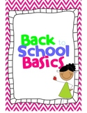 Back to School Basics- first week plans
