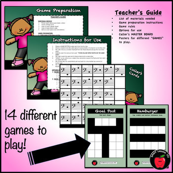Back to School Bass Clef Bingo Game: Back to School Note Name Bingo Music Game