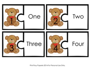 Apples and Bears Number Puzzles 1-10 ** Freebie **