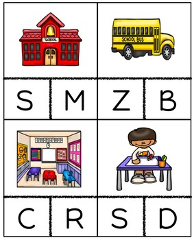 Back to School Beginning Sound Cards