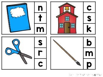Back to School Beginning Sounds Clip It Activity