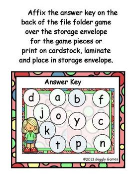 Back to School Beginning Sounds File Folder Game