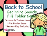 Back to School Beginning Sounds File Folder Game