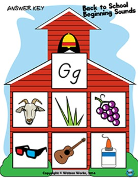 Back to School Beginning Sounds - Letter G