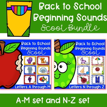 Back to School Beginning Sounds Scoot Bundle (A-M set and N-Z set)